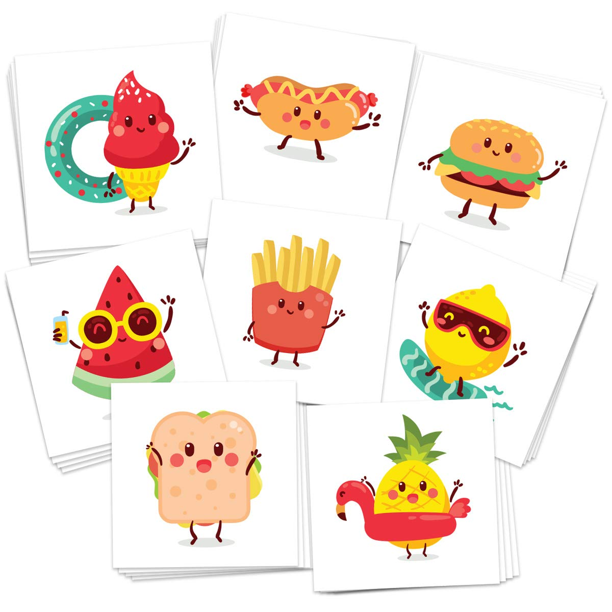FashionTats Summer Foods Temporary Tattoos | Pack of 32 Tattoos | BBQ - Beach - Pool Party Supplies | Skin Safe | MADE IN THE USA