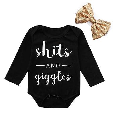 6894403ce Amazon.com  Keliay Newborn Infant Baby Boy Girl Letter Romper ...