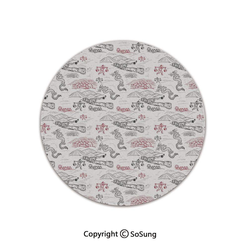 Ethnic Round Area Rug,Great Wall of China Folk Motif with Authentic Dragons and Local Men Culture Print,for Living Room Bedroom Dining Room,Round 5'x 5',Dark Grey Red by SoSung