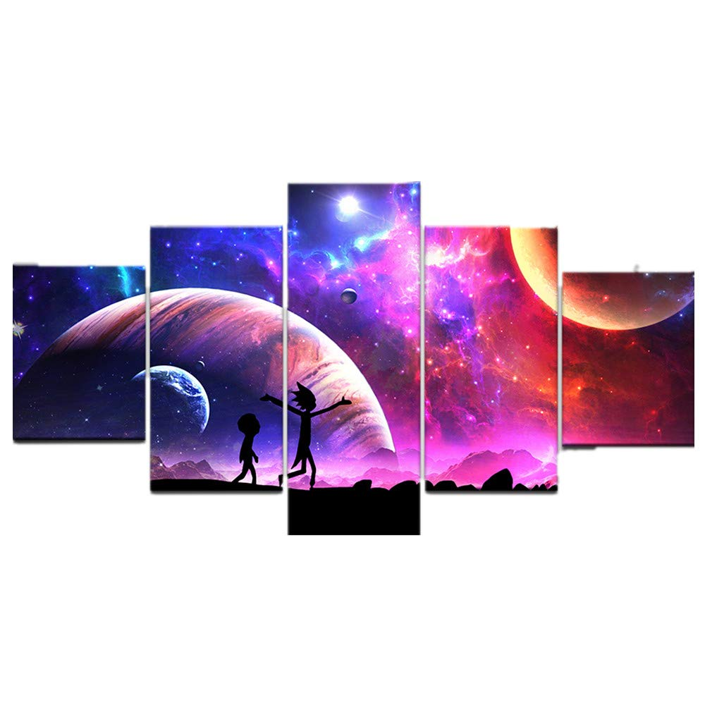 HAO SHUN DA Canvas Pictures Home Wall Art Framework Decor 5 Pieces Rick and Morty Painting for Living Room HD Prints Animated Cartoon Poster (16x24in2 16x32in2 16x40in1(No Frame))