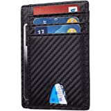 Card Holder for Men, TERSELY Minimalist Wallet RFID Blocking Front Pocket Secure Thin Credit Card Holder (Carbon Fibre), Holds up to 7 Cards and Bank Notes, Ideal for Travel (Black)