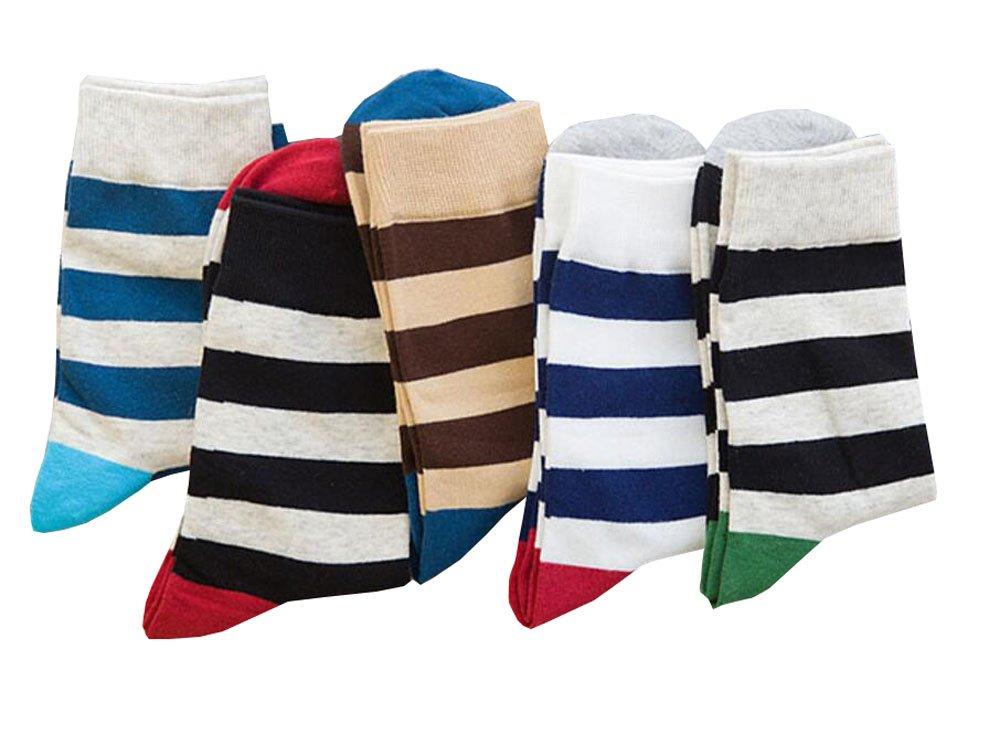 Packung mit 5 Paaren Herren Socken Buntes Streifenmuster Black Temptation