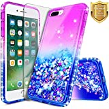 NageBee Quicksand Case Compatible Apple iPhone 6S Plus/iPhone 6 Plus w/[Tempered Glass Screen Protector] Glitter Liquid Waterfall Flowing Shiny Sparkle Bling Diamond Clear Girly Cute Case Purple/Blue