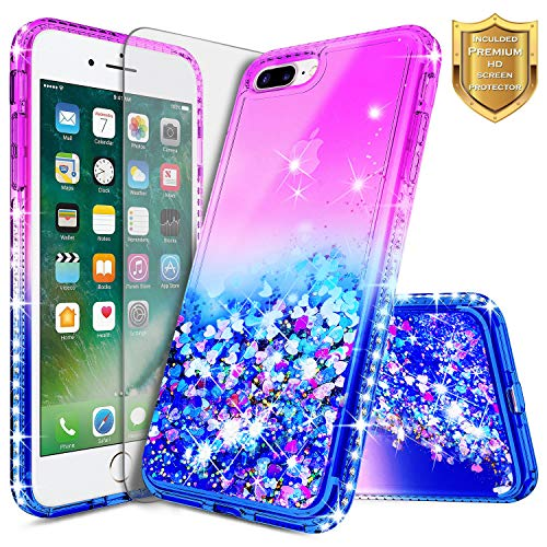 iPhone 6 Plus / 6S Plus Glitter Case w/[Tempered Glass Screen Protector], NageBee Liquid Quicksand Waterfall Floating Flowing Sparkle Shiny Bling Diamond Girls Cute Durable Case -Purple/Blue