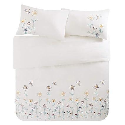 Scm Bettwäsche 200x200cm Weiß 100 Baumwolle Mit Bunten Blumen Stickerei 3 Teilig Bettbezug Kissenbezüge 50x75cm Ideal Für Schlafzimmer Louisa
