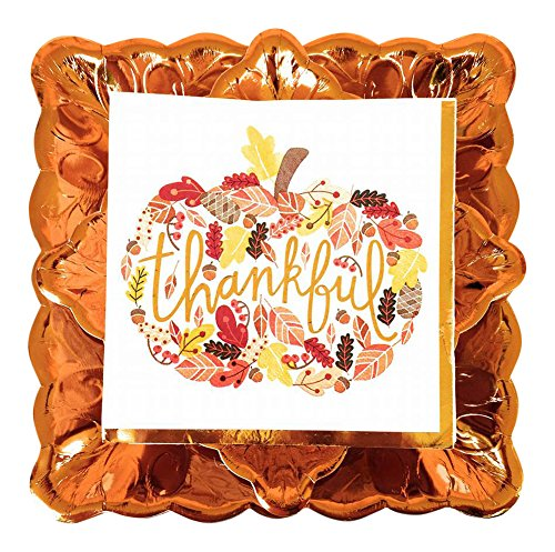 Thankful Deluxe Fall Party Dinnerware Bundle - 3 Items: Dinner Plates, Dessert Plates, Large Napkins -