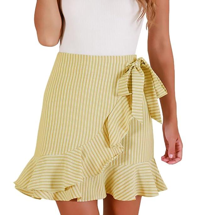 buscar autorización diseño popular nueva llegada Faldas Mujer Cortas Verano Elegante Rayas con Volantes ...