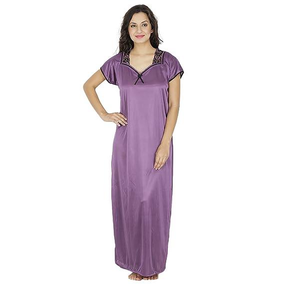 Klamotten Purple Satin Long Nighty  Amazon.in  Clothing   Accessories beeeeb552