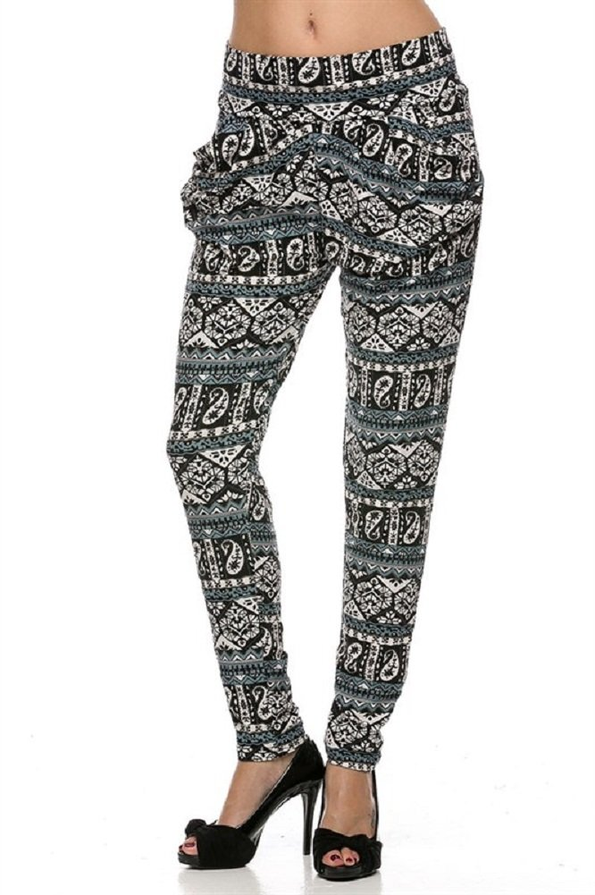 Elegant4U Lady's Printed Sea Blue Batik Pattern Harem Pants with Pockets