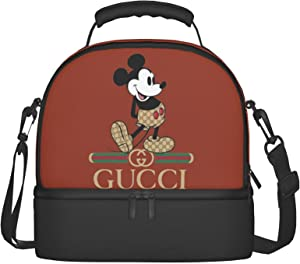 Mickey Mouse Women Tote Bag Cooler Bag With 2 Container Leakproof Food Cake Snack Work Office School Meal Prep Tote Double Layer Organizer Tote Handbag Insulated Heat Lunch Bag