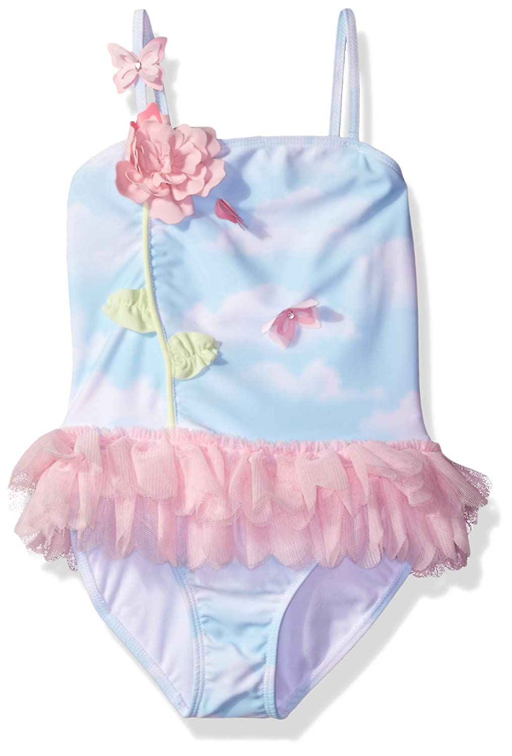 Kate Mack Girls Butterfly Sky Skirted Tank Swimsuit