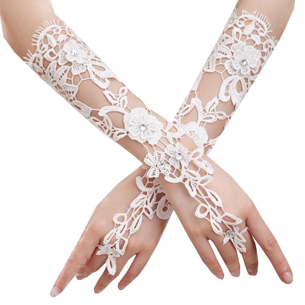 JISEN Women Formal Banquet Party Bride Pierced Lace Wedding Gloves Gift CMG00639