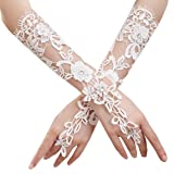 JISEN Lady Formal Banquet Party Bride Pierced Lace Wedding Gloves Gift