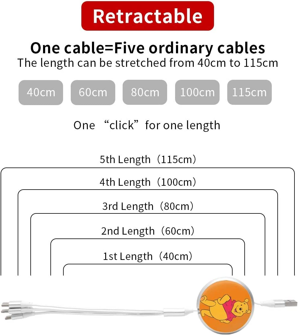N//C Winnie Poohs Anime Round Three-in-One Charging Cable TPE Cable Aluminum Alloy Shell Pc Surface