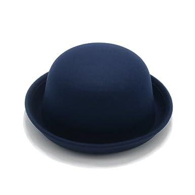 JEDAGX Cappello da Bowler Fedora con bordo avvolgente in lana da donna  stile vintage - Blu 9517d72212fa