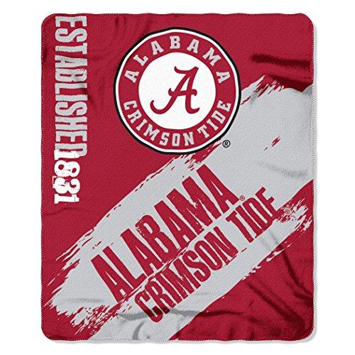 (NCAA Alabama Crimson Tide Painted Printed Fleece Throw Blanket, 50