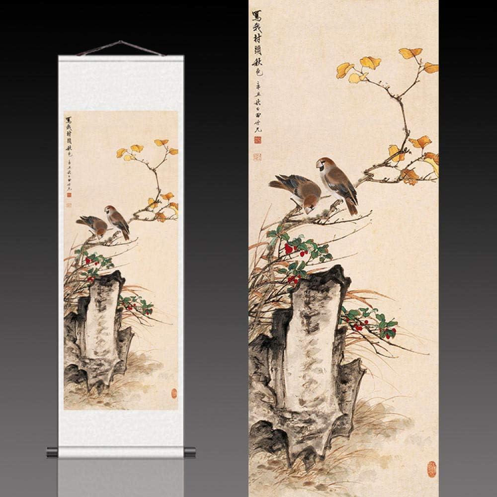 30 RXQCAOXIA Silk Scroll Wandbehang Bild Kalligraphie Kunstwerk@01/_100