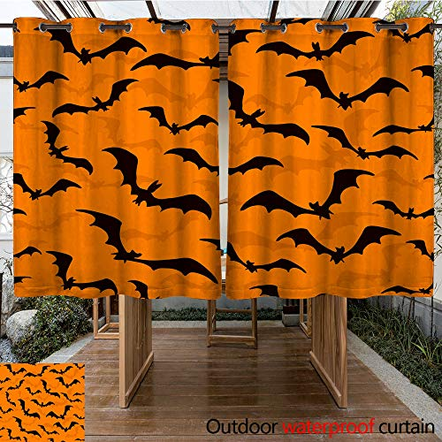 (WinfreyDecor Home Patio Outdoor Curtain Seamless Wallpaper with Bats for Halloween on Orange Background W55 x)