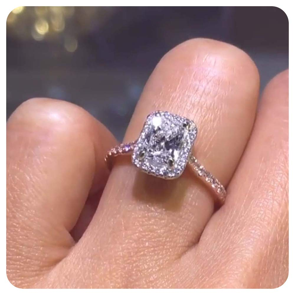 Dabangjewels 2.30Ctw Emerald Cut Created Diamond 14k White Gold Over .925 Sterling Silver Engagement Ring for Womens