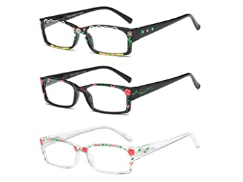 e8a2366c93b Image Unavailable. Image not available for. Color  Reading Glasses 3 Pack  Readers of Hand Painted Fashion Flexible Spring Hinge ...