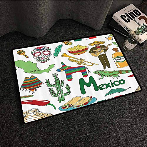 Mexican Decorations Collection Bedroom Doormat Fun Colorful Sketch Mexico Chili Pyramid Nachos Cactus Music Poncho Image with Anti-Slip Support W35 xL59 Green Olive Mustard