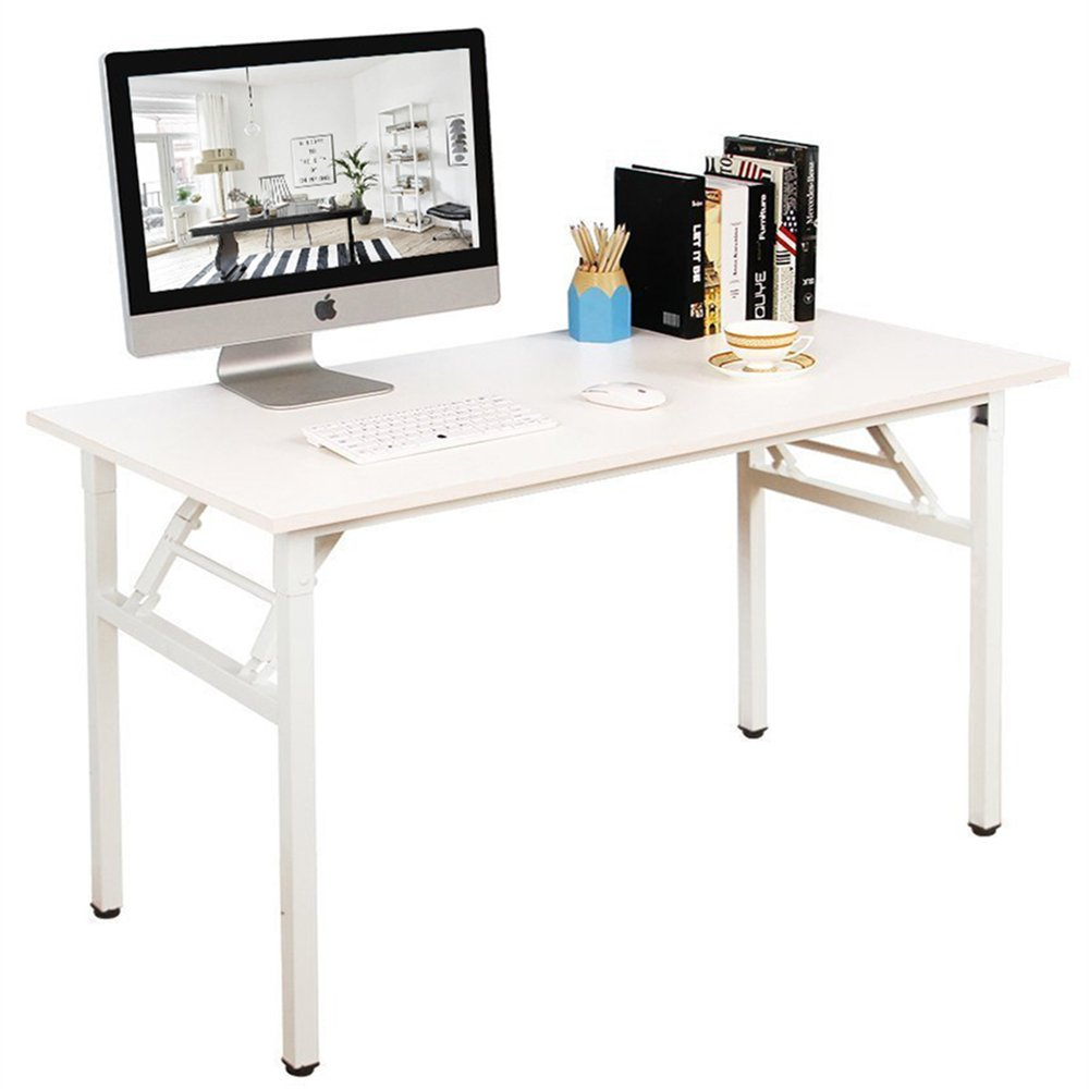 White 120 x 60 cm DlandHome 120  60cm Folding Table, No Install Needed, Composite Wood Board, with a Mesh Partition for Stockage, Home Office Computer Desk Workstation, Teak & Black Legs, 1 Pack