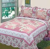 Fancy Collection 3pc Bedspread Bed Cover Floral Off White Pink New 0605 King/California King Over size 118'' x106''