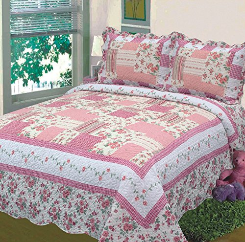 Fancy Collection 3pc Bedspread Bed Cover Floral Off White Pink New 0605 (Full/queen)