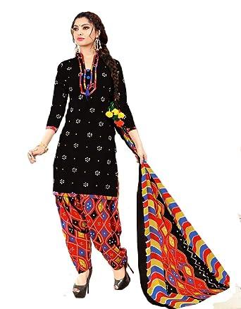 dda3eb633776 Shree Ganesh Retail Womens Bandhani Printed Churidar Material   Salwar Suit    Salwar Kameez Unstitched Cotton Salwar Suit Material (BLACK & RED 8006):  ...