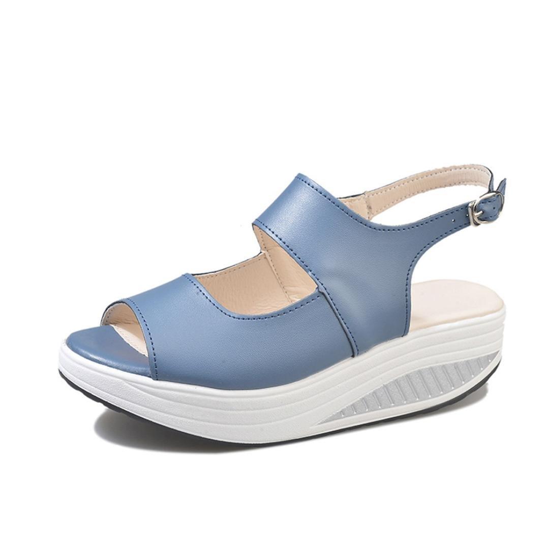 FORUU Fashion Women Shake Summer Sandals Fish Mouth Thick Bottom HIGT Heel (38, Blue)