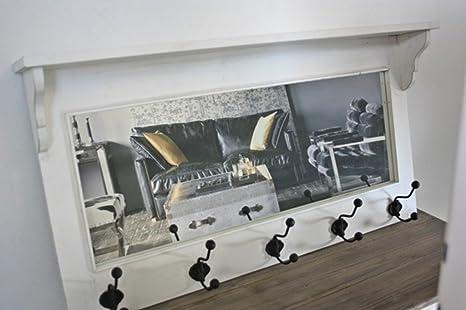 elbmöbel - Perchero con Espejo Madera Color Blanco, Estilo ...