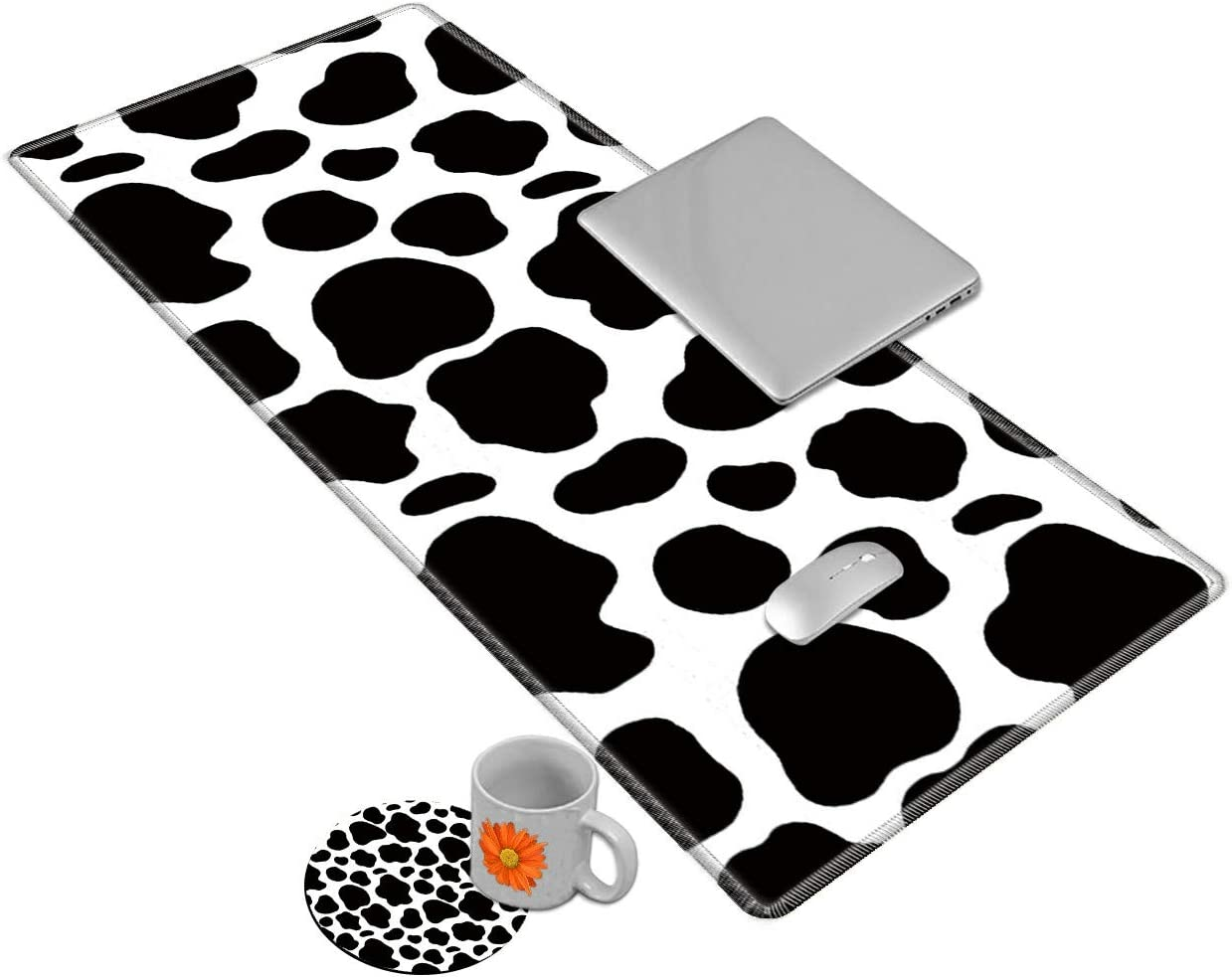 Desk Mat Gaming Mouse pad for Laptop, Cute Cow Customized Design Printed Desk pad, Home Office Accessories, with Sunflower Coasters and Cute Stickers