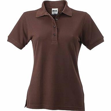 JAMES & NICHOLSON Damen Poloshirt, Einfarbig Gr. X-Small, Braun