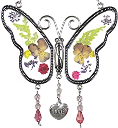 Butterfly Shaped Sun Catcher with Real Pressed Flowers and Heart Charm