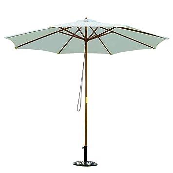 2738de04 Sombrilla Parasol para Terraza Jardín Piscina Patio Camping - Color Blanco  Crema - Poliéster Madera - Φ300x250 cm: Amazon.es: Jardín