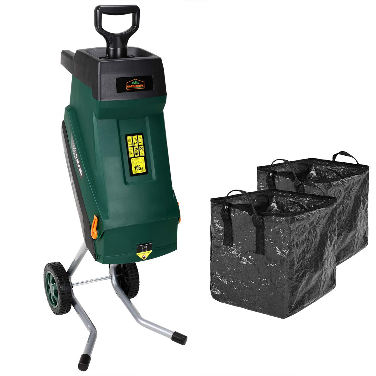 Deuba Trituradora silenciosa de 2400W con bolsas de recolecci/ón cuchillas de acero con ruedas para ramas de hasta 45 mm