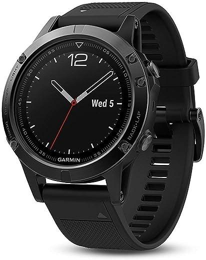 Garmin Fenix 5 Sapphire Multisport Watch, 47 mm (Black with Black Band)