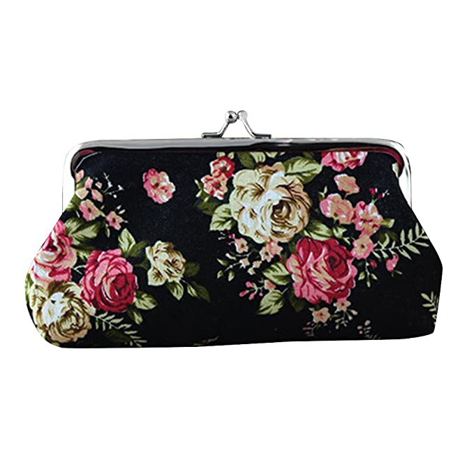 Amazon.com: Gilroy Womens Retro Flower largo cartera ...