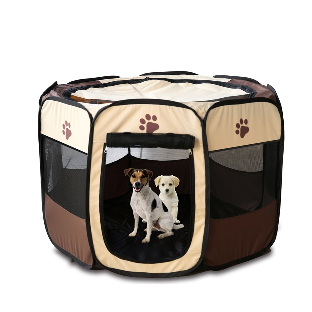 Cuteshower Pet Portable Foldable Dog Playpen Exercise Kennel 600d Oxford Cloth (M, Brown) by Cuteshower