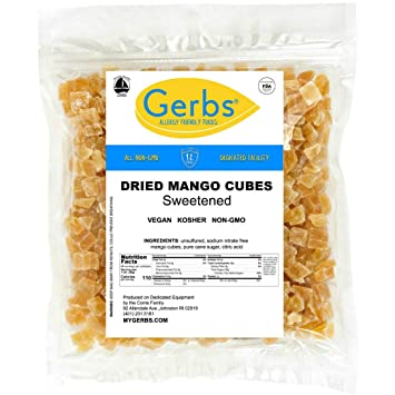 f2699891e1d Dried Mango Cubes, 4 LBS - Preservative Free & Unsulfured by Gerbs - Top 14  Food Allergy Free & NON...
