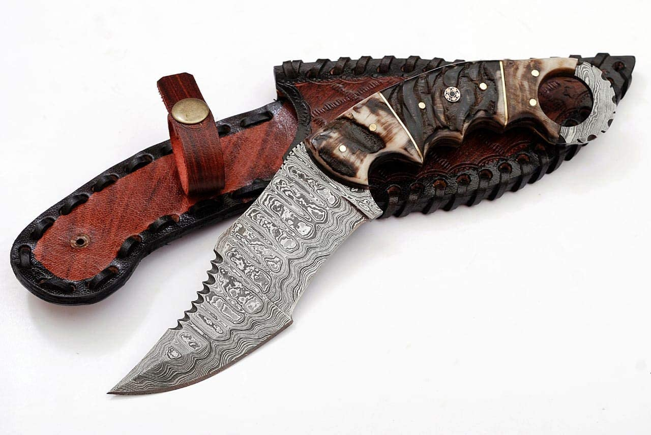 Grace Knives Handmade Damascus Hunting Knife 10 Inches G-1074 with Sheath