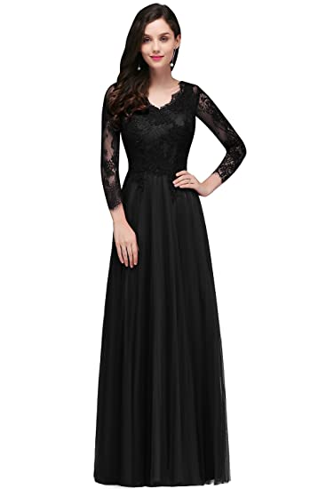 Misshow Womens Long Sleeve A Line Dresses for Wedding Cocktail Party, Black, Size 6