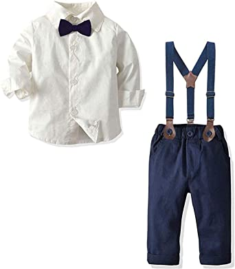 Long Sleeves Dress Shirt Dress Shirt and Suspender Pants Set Tuxedo Gentlemen Outfit with Bow Tie for Newborn Toddlers Baby Boys Baby Boys Clothes S01 Blue Tag 60 = 3-9 Months