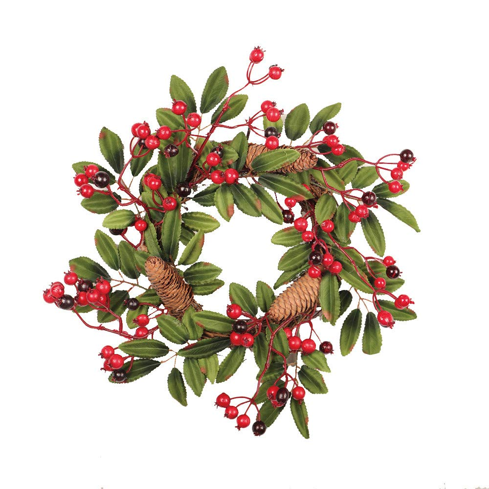 Yezijin Christmas Garlands, 40cm Pine Cone Fruit Door Wreath Door Wall Ornament Christmas Thanksgiving Decor