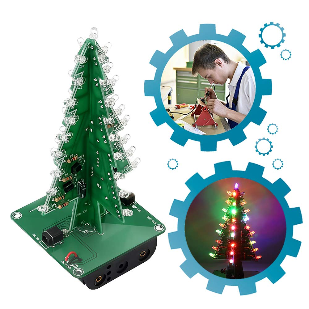 Christmas Model.Is Icstation Diy Christmas Tree 3d Xmas Soldering Practice Electronic Assemble Kit Project For Kids Teens 7 Colors Flashing Led Pcb Solder