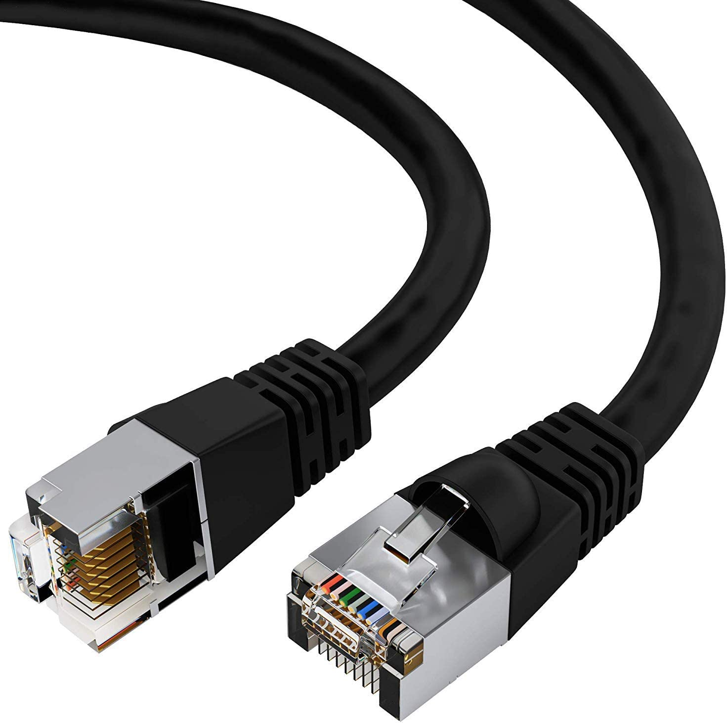 RJ45 10Gbps High Speed LAN Internet Cord GOWOS 20-Pack Available in 28 Lengths and 10 Colors FTP Computer Network Cable with Snagless Connector 5 Feet - Gray Cat5e Shielded Ethernet Cable