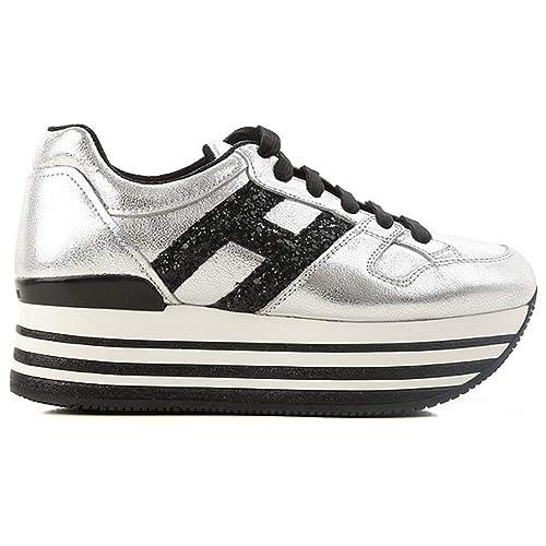 Hogan H368 Maxi H222 Sneakers Donna Argento con Dettagli in Glitter (37.5  EU 6f673eda933