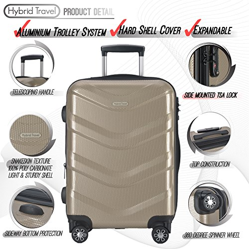 2 PC Luggage Set Durable Lightweight Hard Case Spinner Suitecase LUG2 RA8713 CHAMPAGNE by HyBrid & Company (Image #2)