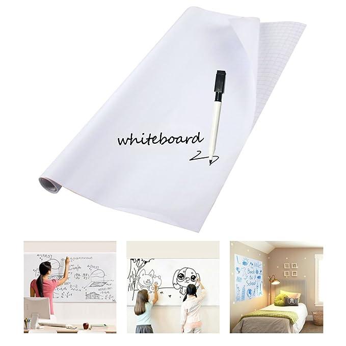Vinilo Pizarra Blanca Adhesivo Removible para Escribir y Borrar , 60 x 150 cm con 1 Rotuladores para Pizarra por Escuela Oficina y Casa - YOKIRIN