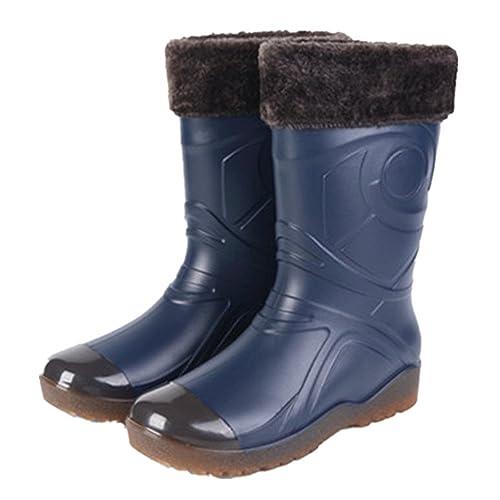Stivali Pioggia Uomo Stivaletti Gomma Invernali Rain Boots con Fodera  Pelliccia Caldo Rimovibile per Lavoro Warehouse 77a408eb100